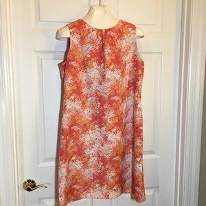 Madison Floral Coral White Print Linen Dress Sz 10